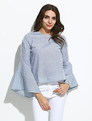 Women's Going out / Casual/Daily Simple / Street chic Summer / Fall BlouseStriped Off Shoulder Long Sleeve