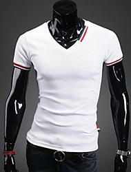 Herren T-shirt-Einfarbig Freizeit Baumwollmischung Kurz-Schwarz / Blau / Weiß / Grau