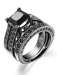 Ring AAA Cubic Zirconia Zircon Cubic Zirconia Alloy Fashion Black Dark Blue Blue Light Blue Jewelry Casual 1set
