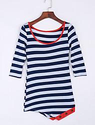 Damen Gestreift / Einfarbig Einfach Lässig/Alltäglich T-shirt,Rundhalsausschnitt Herbst ¾-Arm Blau Polyester Dünn