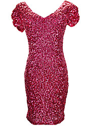 Women's Sequin Party Boho Bodycon Dress,Solid V Neck Mini Short Sleeve Red Black Purple Gold Others Fall High Rise Micro-elastic Medium