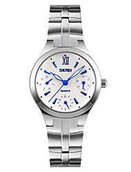 SKMEI Муж. Модные часы Наручные часы Кварцевый Календарь Защита от влаги Нержавеющая сталь Группа Cool Серебристый металл