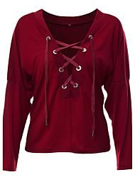 T-shirt Da donna Per uscire / Casual Sensuale Autunno / Inverno,Tinta unita A V scollato Cotone Rosso / Verde Manica lunga