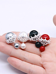 Stud Earrings Imitation Pearl Pearl Sterling Silver White Black Silver Red Jewelry Wedding Party Halloween Daily Casual 1 pair
