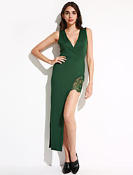 Women's Going out / Casual/Daily / Party/Cocktail Sexy Bodycon DressSolid / Print V Neck Maxi Sleeveless