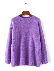 Damen Standard Pullover-Ausgehen Lässig/Alltäglich Einfach Street Schick Stickerei Blau Lila Rundhalsausschnitt LangarmKunst-Pelz