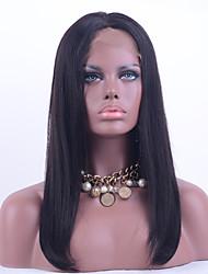 note 8a brazilian dentelle cheveux vierges perruque avant les cheveux raides couleur noire 130% de la densité de la dentelle de cheveux