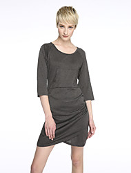 Women's Solid Gray Dress , Sexy / Bodycon U Neck ½ Length Sleeve