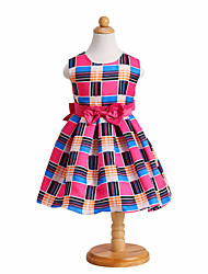 Baby Girl/Girl's Wedding Party Pageant Birthday Dress Cute Plaid & Bow A-Line Dress in Pink
