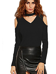 Women's Off The Shoulder|Choker Going out Club Sexy Simple Spring Fall Off-The-Shoulder Slim All Match T-shirtSolid V Neck Long Sleeve Medium
