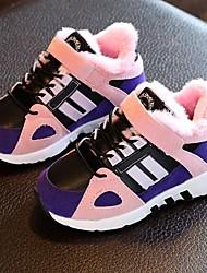 Girl's Athletic Shoes Fall Winter Comfort PU Athletic Flat Heel Hook & Loop Pink Orange Light Green