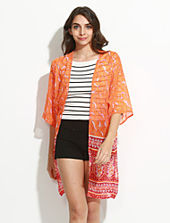 New Fashion Women Cardigan Open Front Contrast Print Half Sleeve Kimono