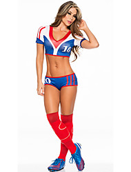 Women Sexy Football Cheerleader Uniform High School All Star Super Bowl World CupCheering Squad Costumes Solid Top / Shorts