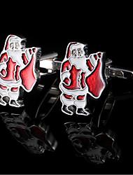 Papai Noel abotoaduras para homens ligações punho da camisa francês presentes do Natal manguito botões presentes jóias com caixa de