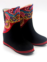 Girl's Boots Spring Fall Comfort Fabric Casual Flat Heel Black Green Red Red/Black