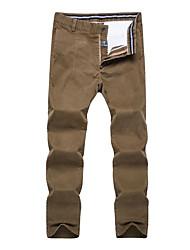 Masculino Reto Chinos Calças-Cor Única Casual Simples Cintura Média Zíper Algodão Micro-Elástico Todas as Estações