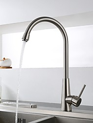 Modern Standard Spout Deck Mounted with Ceramic Valve Single Handle One Hole for  Nickel Brushed , Kitchen faucet