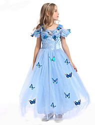Cosplay Costumes / Party Costume / Masquerade Princess / Fairytale / Cosplay Movie Cosplay Blue Solid Dress Halloween / Carnival Kid
