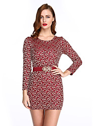 Women's Casual / Day Print Sheath Dress , Round Neck Mini Polyester