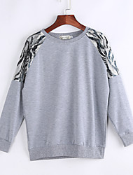 Women's Going out /Street chic Regular Hoodies,Print Gray Round Neck Long Sleeve Cotton Spring / Fall