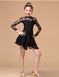 Latin Dance Dresses Children's Training Lace Milk Fiber Lace Ruffles 1 Piece Long Sleeve High Dress