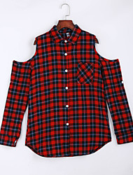 Women's Going out / Casual/Daily Sexy / Street chic Off-The-Shoulder Shirt Plaid Shirt Collar Long Sleeve