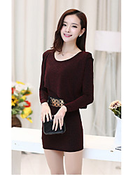 Women's Formal / Party/Cocktail Sexy Bodycon Dress,Solid Round Neck Mini Long Sleeve Brown Cotton Summer Mid Rise Micro-elastic Thin