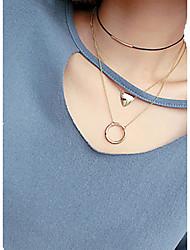 Femme Collier court /Ras-du-cou Pendentif de collier Colliers chaînes Collier multi rangs Bijoux Forme de Cercle Forme Géométrique Alliage