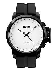 SKMEI Masculino Relógio Elegante Relógio de Moda Relógio de Pulso Impermeável Mostrador Grande Quartzo Silicone Banda Legal Preta