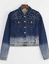Women's Solid Blue Slim Thin Beads Short Demin Jacket , Vintage Casual / Cute
