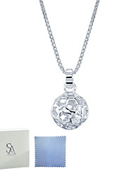 SILVERAGE 925 Sterling Silver Flower Hollow Ball Pendant Necklace 18''