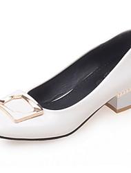 Feminino-Saltos-Sapatos com Bolsa Combinando-Salto Grosso-Preto Vermelho Branco Amêndoa-Courino-Escritório & Trabalho Social Casual