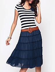 Women's Fine Stripe Casual/Daily Street chic Sheath Dress,Solid U Neck Midi Long Sleeve Black Polyester Fall / Winter High Rise Stretchy Medium