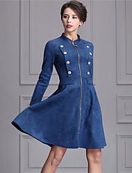 Trompette/Sirène Robe Femme Travail Chic de Rue,Couleur Pleine Mao Au dessus du genou Manches Longues Bleu Nylon Hiver Taille Normale