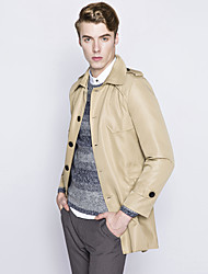 Men's Casual Long Single-Breasted Design Woolen Coat Solid Notch Lapel Long Sleeve Winter Blue / Brown Cotton / Polyester Thick