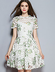 Women's Casual/Daily Simple A Line Dress,Floral Stand Above Knee Short Sleeve White Polyester Fall Mid Rise Micro-elastic Medium