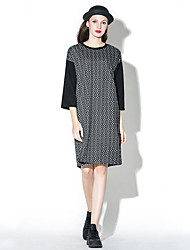 Women's Casual/Daily Sophisticated Loose Dress,Check Round Neck Knee-length ¾ Sleeve Gray Green Cotton Polyester Spring Fall Mid Rise