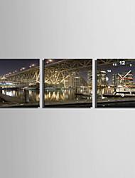 Moderno/Contemporáneo Otros Reloj de pared,Cuadrado Lienzo 25 x 25cm(10inchx10inch)x3pcs Interior Reloj