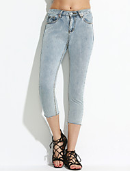 Women's Solid Gray Jeans Pants,Simple