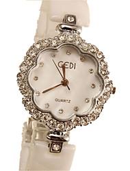 Women's Fashion Watch Simulated Diamond Watch Quartz Imitation Diamond Ceramic Band Ivory