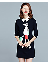 Women's Going out Casual/Daily Holiday Simple Cute Sheath Dress,Print Shirt Collar Above Knee Long Sleeve Cotton PolyesterWhite
