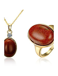 Lucky Doll Jewelry 1 Necklace Rings Party Daily Gemstone & Crystal Copper Gold Plated 1set Women Gold Wedding Gifts