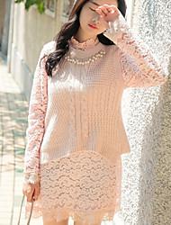 Damen Solide Einfach Lässig/Alltäglich T-shirt Rock Anzüge,Rundhalsausschnitt Herbst Langarm Rosa Weiß Baumwolle Mittel