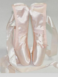 Customizable Women's Dance Shoes Satin Satin Ballet Full Sole Flat Heel Indoor Pink