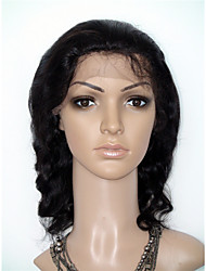 жен. Парики из натуральных волос на кружевной основе Натуральные волосы 130% плотность Естественные кудри Парик Черный Длиный Природные