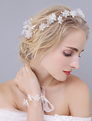 Handmade Organza Flower Headpiece Bracelet Wrist flowers-Wedding Special Occasion Tiaras Headbands Flowers 2 Pieces Suit