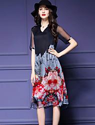 Women's Vintage Print Plus Size / Loose Dress,V Neck Knee-length Silk / Polyester