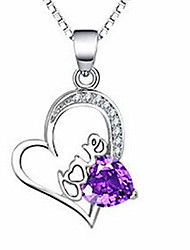 Women's Pendant Necklaces Crystal Sterling Silver Simulated Diamond Jewelry Basic Fashion Silver Jewelry Casual 1pc