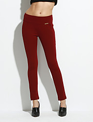 Women's Bodycon OL Style Solid Red / White / Black / Green / Yellow Skinny Pants Simple