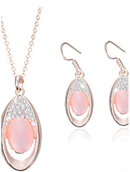 Jewelry 1 Pair of Earrings Necklaces Rhinestone Wedding Party Alloy Opal 1set Women Candy Pink Wedding Gifts